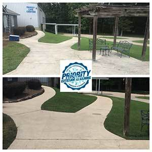 Image: Before and After Commercial Sidewalk Cleaning by Priority Exterior Cleaning, LLC.