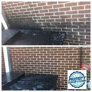 Image: Before and after Commercial Grease Removal Power Washing Services by Priority Exterior Cleaning, LLC.