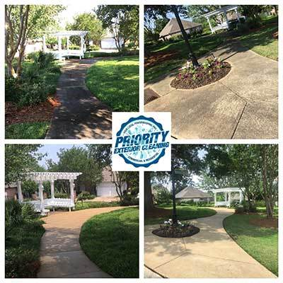 Image: Before and After A Homeowners Association Concrete Sidewalk Cleaning by Priority Exterior Cleaning, LLC.