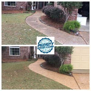 Image: Before and After Residential Concrete Sidewalk Power Washing Service by Priority Exterior Cleaning LLC