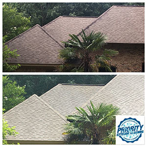 Image: Example of a what a roof looks like before and after a roof cleaning with soft wash treatment