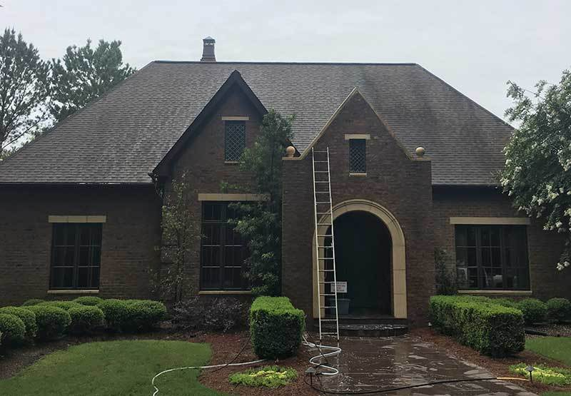 Image: Jackson MS Roof Cleaning Company, Priority Exterior Cleaning, LLC, cleaning a Jackson MS area home.