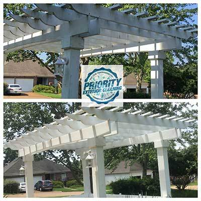 Image: Wooden Arbor Before & After A Treatment by Priority Exterior Cleaning, LLC.